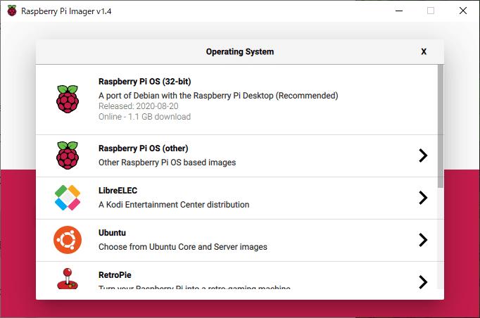 OSとSDカードを選択