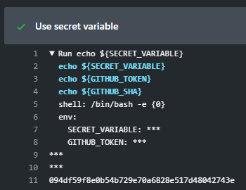 GitHub Action secret variables output