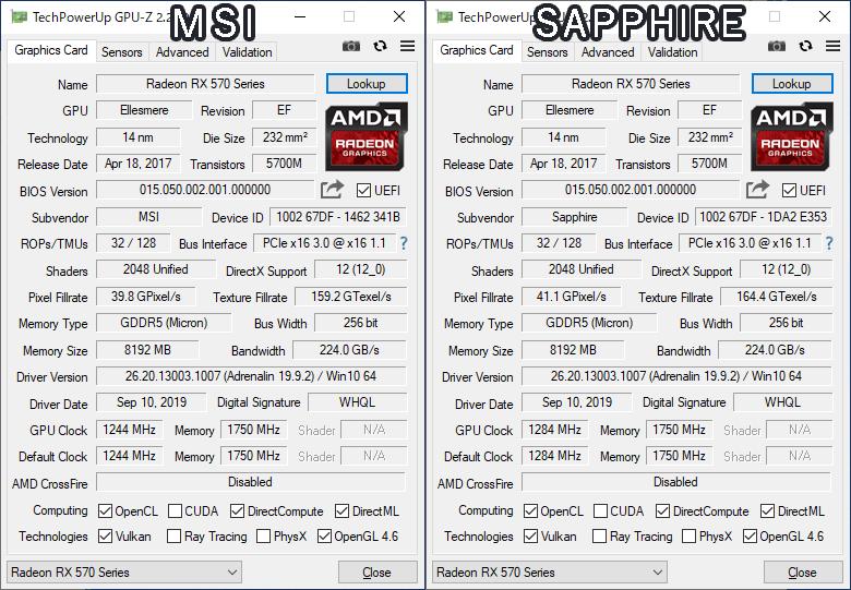 RX570 MSI SAPPHIRE GPU-Z