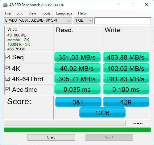 WDS500G2B0B AS SSD Benchmark