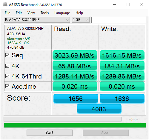 SX8200 AS SSD Benchmark