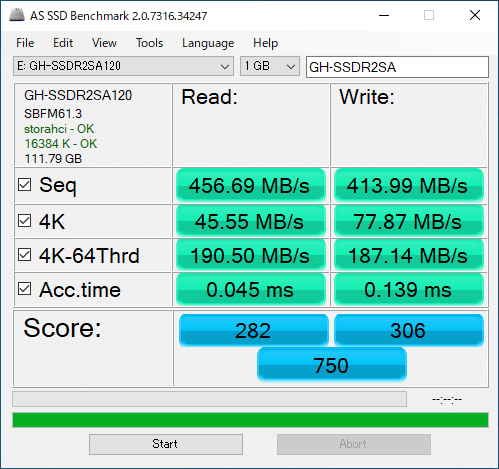 GH-SSDR2SA AS SSD Benchmark