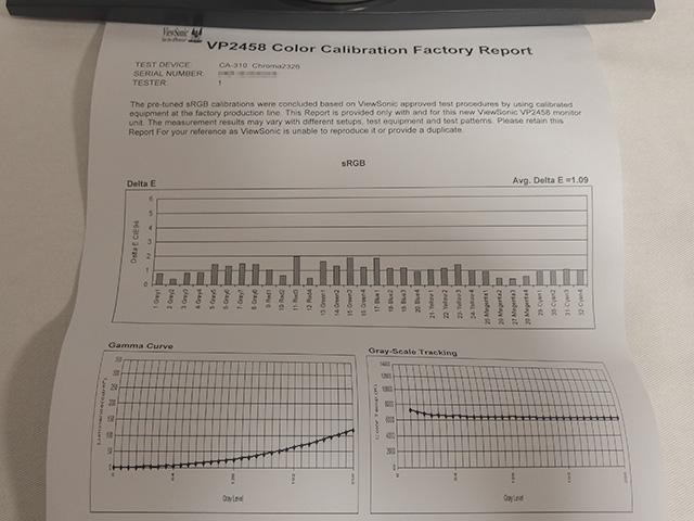 VP2458 キャリブレーションレポート