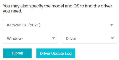 Kamvas 16 ドライバー検索
